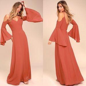 NEW Lulus Glamorous Greeting Rusty Rose Maxi Dress